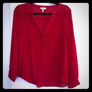 Joie Tops - Joie 100% Silk Long Sleeve Red Blouse XS